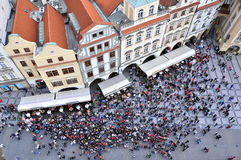 Tourists gather under Prague Astronomical Clock Royalty Free Stock Photo