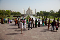 Tourists gazing at Taj Mahal in Agra India Royalty Free Stock Photo