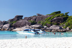 Tourists get into the boat, Similan islands Stock Image