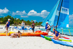 Tourists getting ready to sail in Varadero, Cuba Royalty Free Stock Image