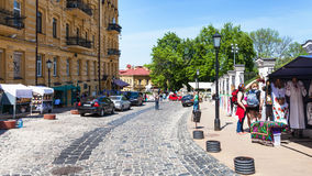 Tourists and gift market on Andriyivskyy Descent Royalty Free Stock Photo
