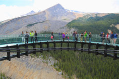 Tourists at the Glacier Skywalk in Jasper National Park,Canada Stock Photography