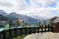 Tourists at the Glacier Skywalk in Jasper National Park,Canada Royalty Free Stock Photo