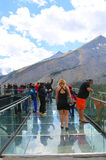 Tourists at the Glacier Skywalk in Jasper National Park,Canada Stock Image