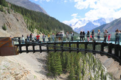 Tourists at the Glacier Skywalk in Jasper National Park,Canada Royalty Free Stock Images