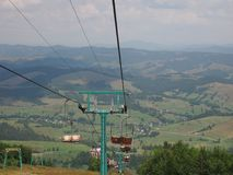 Old cableway lift in the Carpathian mountains Royalty Free Stock Photo