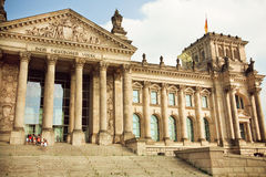 Tourists go on a tour of historical Reichstag building, German parliament Stock Photo