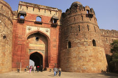 Tourists going through Bara Darwaza, Big gate of Purana Qila, New Delhi. India Royalty Free Stock Photo