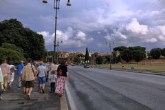 The tourists going on Piazza San Giovanni in Rome, Italy Royalty Free Stock Image