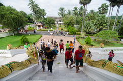 Tourists going up to worship in Haw Pra Bang Stock Photos