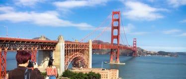 Tourists at the Golden Gate Bridge. royalty free stock photo