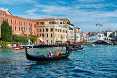 Tourists on a gondola on the Grand Canal Stock Photography