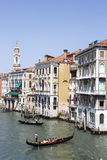 Tourists and gondolas in Venice, Italy Royalty Free Stock Image