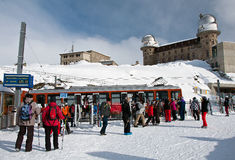 Tourists at Gornergrat, Alps, Switzerland Stock Photography