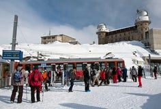 Tourists at Gornergrat, Alps, Switzerland Stock Photography