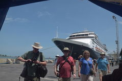 475 tourists got off the cruise ship Volendam Dutch origin Relying on the Port of Tanjung Emas in Semarang. Around 475 tourists from Europe fell from cruise ship royalty free stock image