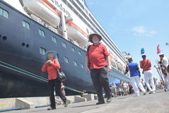 475 tourists got off the cruise ship Volendam Dutch origin Relying on the Port of Tanjung Emas in Semarang. Around 475 tourists from Europe fell from cruise ship stock photography