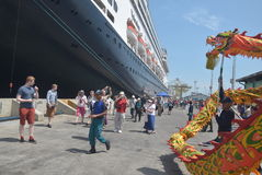 475 tourists got off the cruise ship Volendam Dutch origin Relying on the Port of Tanjung Emas in Semarang. Around 475 tourists from Europe fell from cruise ship Royalty Free Stock Images