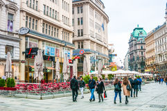 Tourists on Graben Street in old town in Vienna, Austria Royalty Free Stock Photography