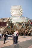 Tourists at the Grand Lisboa Casino in Macau Stock Photos