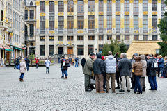 Tourists on Grand Place in Brussels, Belgium Royalty Free Stock Photos