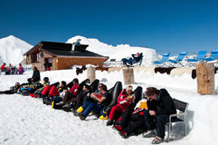 Tourists on the Grandvalira Igloo Hotel, Andorra Royalty Free Stock Image