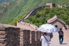 Tourists on the Great Wall of China stock image