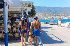 Tourists in Greece island Royalty Free Stock Images