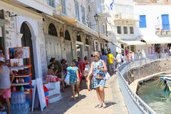 Tourists in Greece island Stock Photography