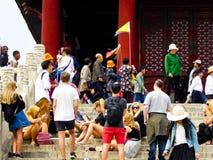 Tourists group inside Beijing Forbidden City Royalty Free Stock Photos
