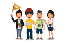 Tourists and guide -. Illustration royalty free illustration