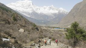 Tourists with the guide are on the trekking in Himalaya, Manaslu area, Nepal. Tourists with the guide are on the trekking in Himalaya, Manaslu area, Nepal stock footage