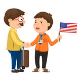 Tourists and guide vector stock illustration