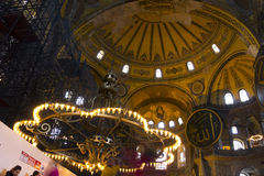 Tourists in the Hagia Sophia (Ayasofya) interior Royalty Free Stock Photography