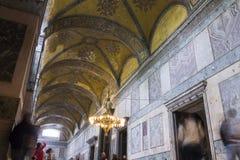 Tourists in the Hagia Sophia (Ayasofya) interior Royalty Free Stock Images