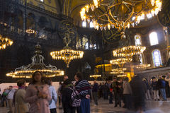 Tourists in the Hagia Sophia (Ayasofya) interior Stock Photo