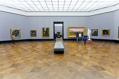 Tourists in hall of Old national gallery in Berlin Royalty Free Stock Photos