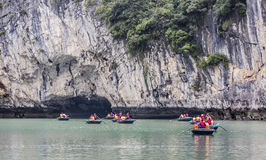 Tourists at Halong bay Stock Images