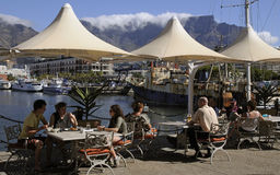 Tourists at harborside cafe Cape Town Stock Images