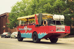Tourists on Harbour Hippo bus in Charlottetown in Prince Edward Stock Photos