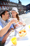 Tourists Having Breakfast In Madrid Stock Photo