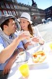Tourists having breakfast in Madrid stock photo