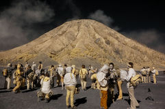 Tourists having fun at Bromo mountain royalty free stock photography