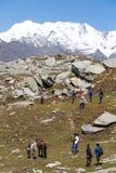 Tourists having fun on the Rohtang Pass, Himachal Pradesh, India Stock Images