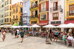 Tourists Having Lunch At Outdoor Restaurant Downtown Mercat Central (Mercado Central or Central Market) Square. VALENCIA, SPAIN - JULY 20, 2016: Tourists Having Royalty Free Stock Photography