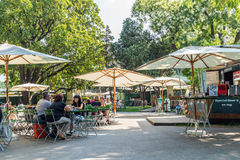 Tourists Having Lunch At Outdoor Restaurant Downtown Vienna City Stock Images