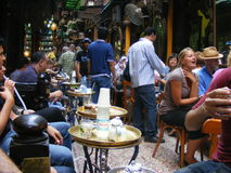 Tourists having tea at El Feshawi coffee shop Arabic in khan el khalili egypt royalty free stock images