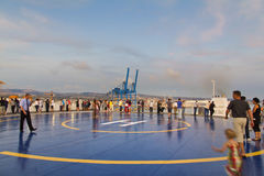 Tourists in Helipad for helicopter on the upper deck of big crui Royalty Free Stock Photo
