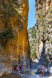 Tourists hike in Samaria Gorge in central Crete, Greece Stock Images