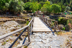 Tourists hike in Samaria Gorge in central Crete, Greece Stock Image